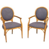 Image of Pair of Carved Wood Upholstered Armchairs For Sale