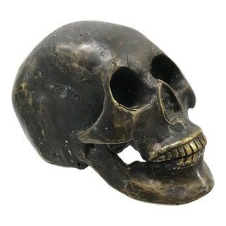 Vintage Bronze Sculpture of Skull For Sale