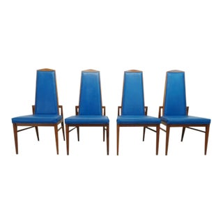Mid Century Modern Foster McDavid Walnut & Blue Leatherette Dining Chairs- Set of 4 For Sale