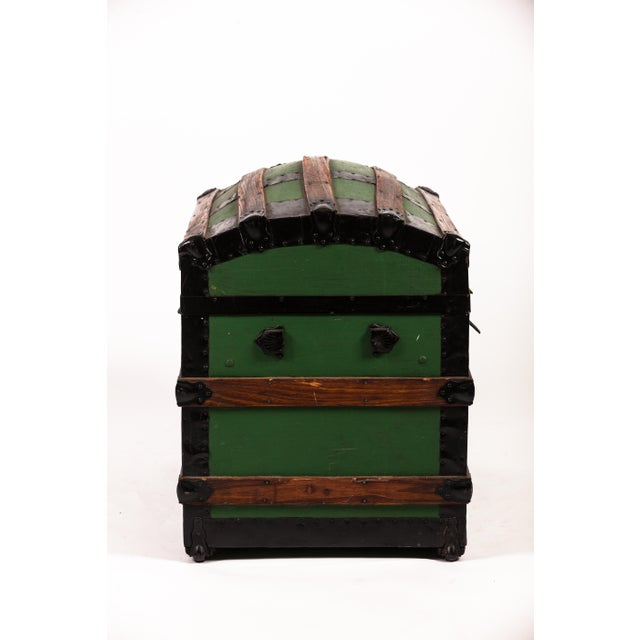 Antique Green Dome Carriage Trunk For Sale - Image 9 of 13