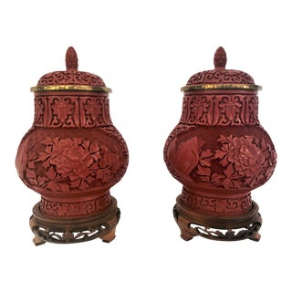 Pair Antique 19th Century Chinese Cinnabar Urns. For Sale