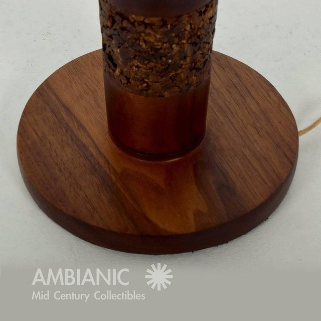 1960s Danish Modern Teak & Cork Table Lamp For Sale - Image 5 of 5