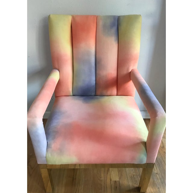 Milo Baughman Mid Century Colorful Velvet Upholstered Brass Base Arm Chairs -A Pair For Sale - Image 4 of 9