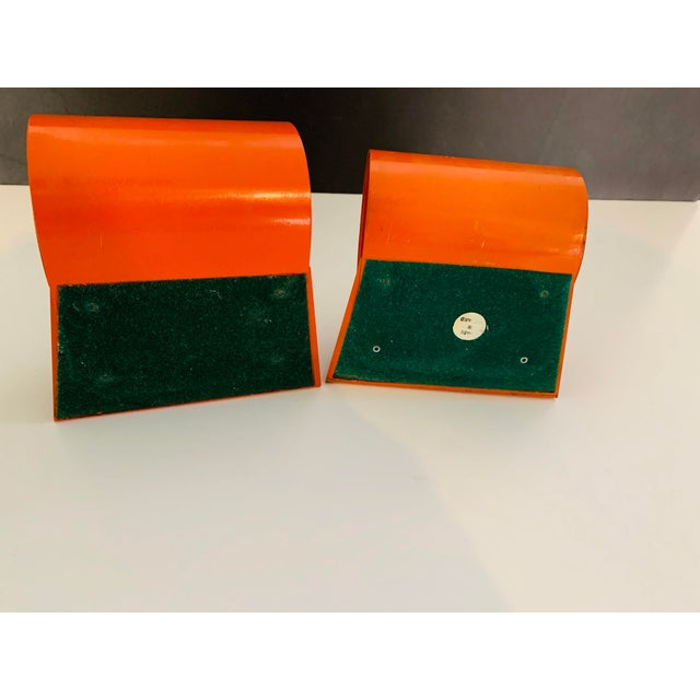 Art Deco 20th Century Art Deco Space Age Modernist Orange Metal Bookends - a Pair For Sale - Image 3 of 7