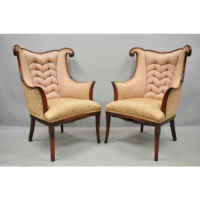 Early 20th Century Vintage Hollywood Regency French Style Mahogany Armchairs- A Pair For Sale - Image 13 of 13