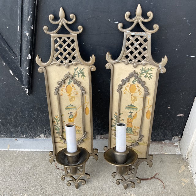 Hand Painted Brass Chinoiserie Lightes Scones - a Pair For Sale - Image 10 of 13