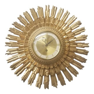 Syroco Gold Star Wall Clock For Sale