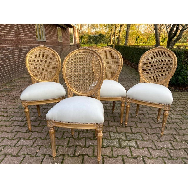 French New 4 Chairs in Antique Gold Finish For Sale - Image 3 of 8