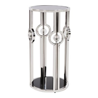 Kenneth Ludwig Chicago The Stainless Steel Pedestal With Black Tempered Glass and Acrylic Ball Details, Small For Sale