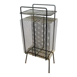 Mid-Century Modern Perforated Metal Magazine Holder Side Table