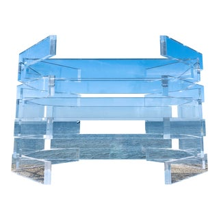 Vintage Stacked Brick Lucite Dining Table and Glass Top For Sale