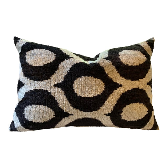 """Contemporary Found Object Ikat Pillow - 22.5"""" X 15 For Sale"""