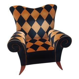 1990s Custom Velvet Harlequin Pattern Chair For Sale