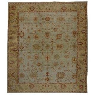 New Modern Turkish Oushak Rug With Transitional Style For Sale