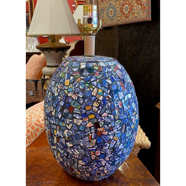 Metal 1990s Broken China Mosaic Lamps - a Pair For Sale - Image 7 of 13
