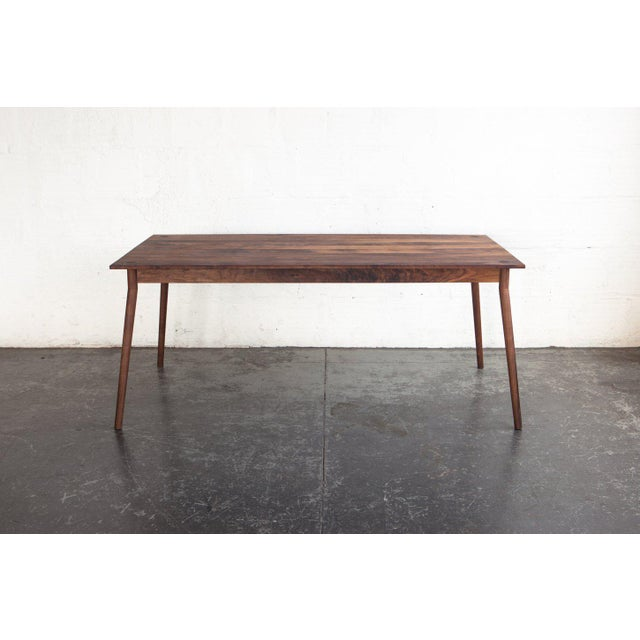 Walnut Mid-Century Modern Fernweh Woodworking Black Walnut Dining Table For Sale - Image 7 of 7