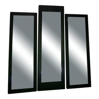 Early 20th Century Black Department Store Trifold Mirror For Sale