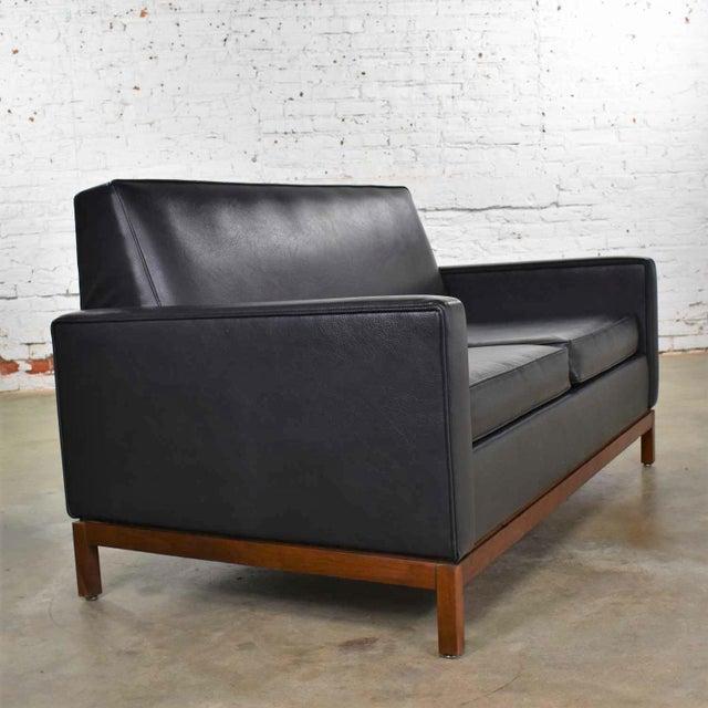 mid century modern black faux leather love seat sofa