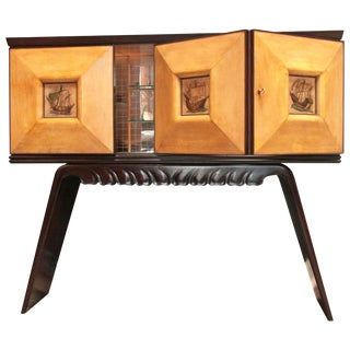 Italian 1950s Bar Cabinet Attributed to Paolo Buffa in Mahogany and Birch For Sale