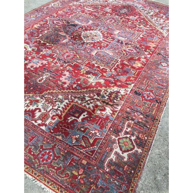 """Antique Persian Heriz Rug - 7'8"""" x 11'3"""" - Image 3 of 6"""