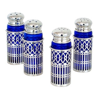 Cobalt Glass and Silverplate Salt and Pepper Shakers (Set of Four)