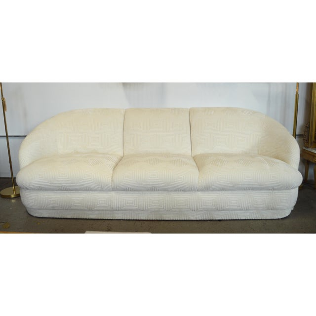 1980s 1980s Weiman White Velvet Cloud Three Seater Sofa For Sale - Image 5 of 5