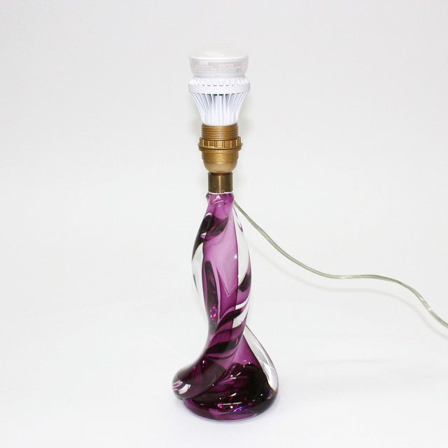 Val St Lambert Purple Table Lamp - Image 4 of 5