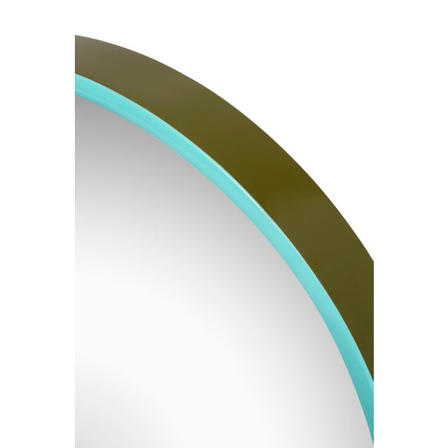 Pentreath & Hall Collection Small Round Mirror in Olive Green / Tiffany Blue For Sale - Image 4 of 5