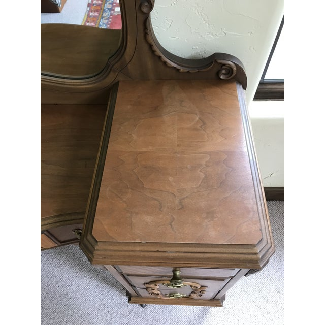 Early 20th Century Antique Mirrored Dressing Table With Burled and Zebra Woods For Sale - Image 5 of 9