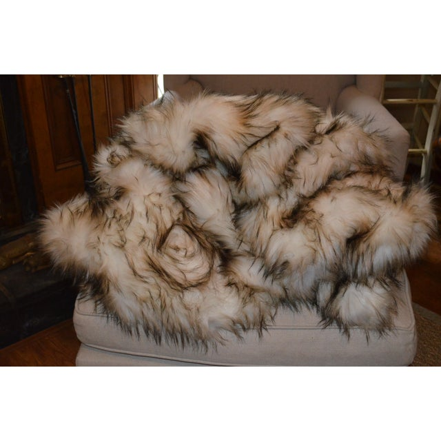Boho Chic Wild Mannered Faux Fur Bleached Finn Throw For Sale - Image 3 of 11