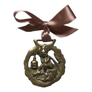 Antique English Horse Brass Christmas Ornament Magic Imp Pixie Goblin For Sale