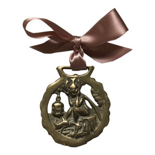 Antique English Horse Brass Ornament Magic Imp Pixie Goblin For Sale