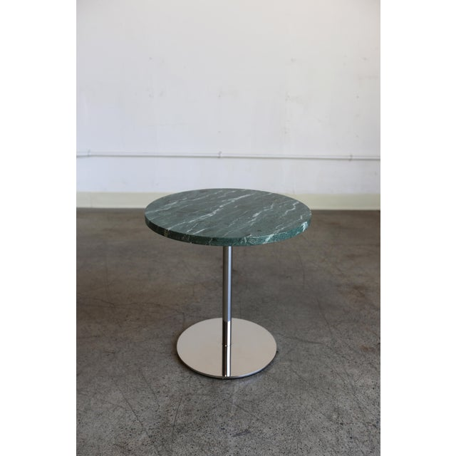 Pair of Marble and Stainless Steel Side Tables by Gerald R. Griffith Studio.