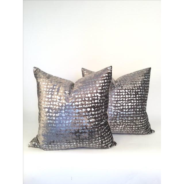 Silver Metallic Embossed Velvet Pillows - A Pair - Image 2 of 4