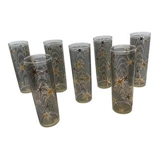 20th Century Tom Collins Starburst Highball Glasses - Set of 7 For Sale