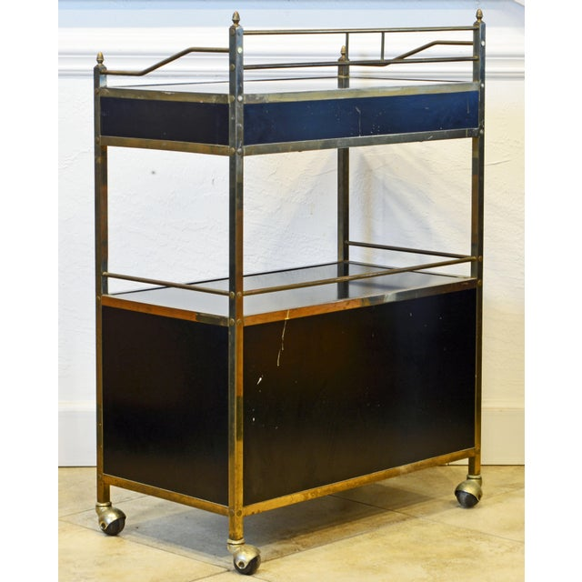 Maxwell Phillips Midcentury Two-Tier Brass and Black Laminate Bar Cart by Maxwell Phillips, Ny For Sale - Image 4 of 13