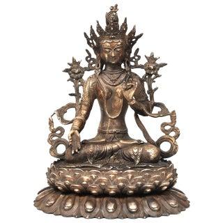 Large Antique Statue of Silver Brass Tibetan White Tara For Sale