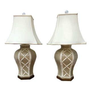 Paul Hanson Faux Bamboo Hexagon Lamps - a Pair For Sale