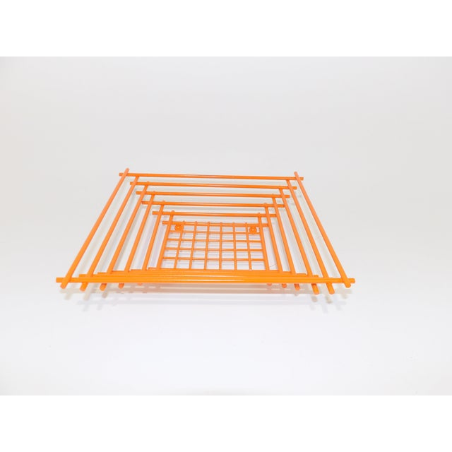 Early 21st Century Mid-Century Modern Geometric Orange Metal Wire Fruit Dish For Sale - Image 5 of 8