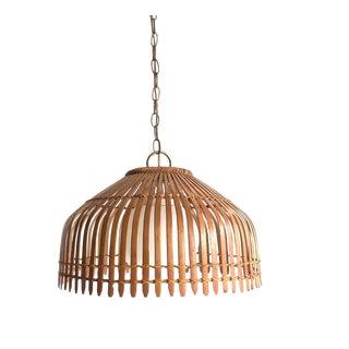 Mid Century Boho Bamboo Rattan Slatted Shade Hanging Light For Sale