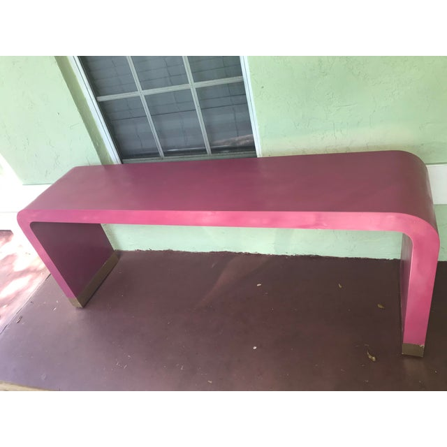 1970s Art Deco Style Pink Waterfall Console For Sale - Image 4 of 8