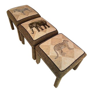Cheetah Print Stools - Set of 3 For Sale