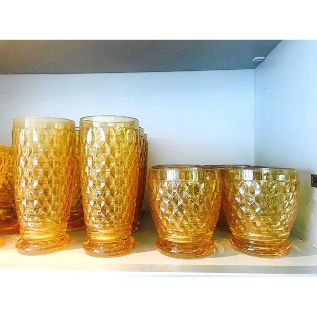 Set of Seven Vintage Villeroy & Boch Crystal Highball Glasses in Amber For Sale - Image 9 of 13