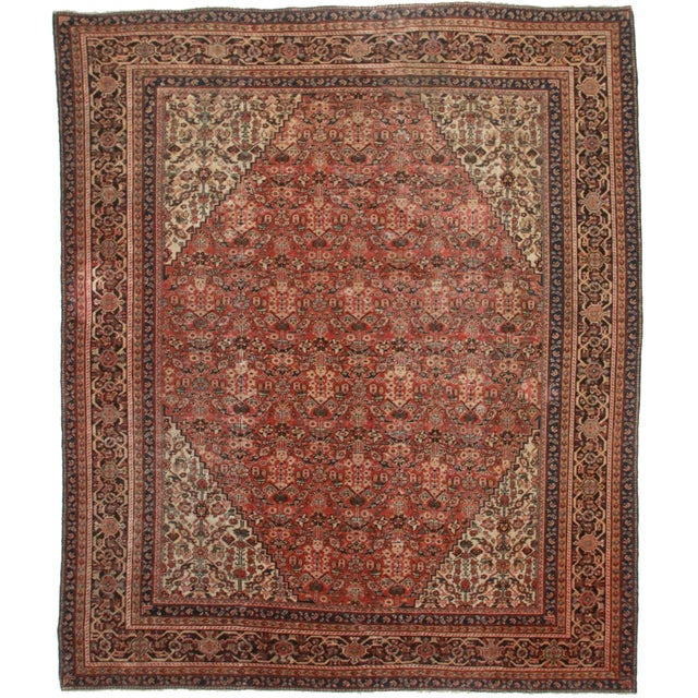 "RugsinDallas Antique Hand Knotted Wool Persian Mahal Rug - 10'6"" X 12'7 For Sale"