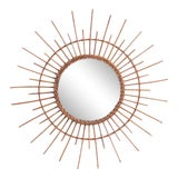 Image of 1970s Rattan Sunburst Mirror For Sale