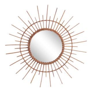 1970s Rattan Sunburst Mirror For Sale