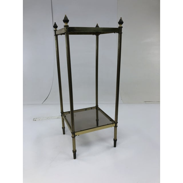 Mid Century Brass Two Tier Glass Side Table For Sale - Image 13 of 13