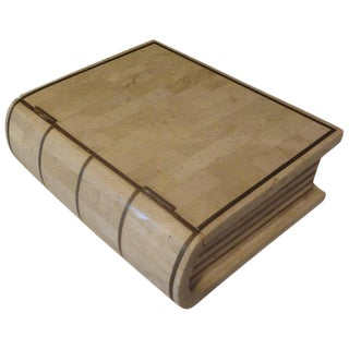 1980s Maitland-Smith Tessellated Stone and Brass Book Shaped Box For Sale
