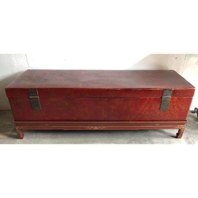 Antique Chinese Red and Gilt Lacquered Martial Arts Storage Trunk on New Stand For Sale - Image 4 of 8