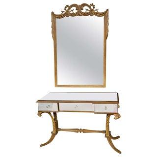 Grosfeld House Art Deco Fleur De Plume Matching Mirrored Vanity Mirror Bench For Sale